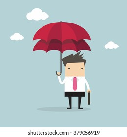 Businessman with double umbrella, Business Concepts