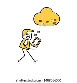 businessman download data from cloud yellow stick figure design