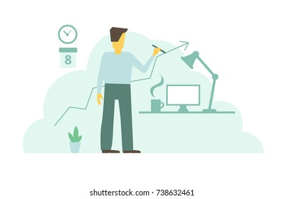 Businessman draw arrow graph. Leading his line with arrow to success. Work days. Office worker.