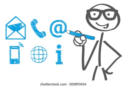 Businessman drawing contact icons