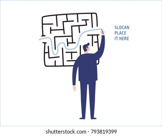 businessman drawing line through maze or labyrinth.solution and success people business concept vector flat design illustration banner brochure marketingisolated background
