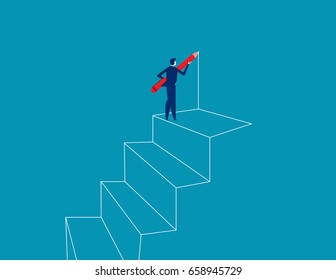 Businessman drawing outline of steps with pen. Concept business vector illustration.