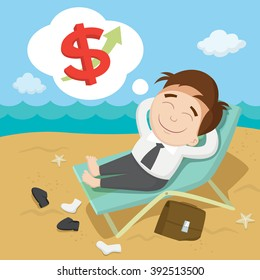 Businessman dreaming about money, vector  illustration