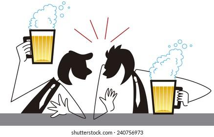 Businessman drinking beer