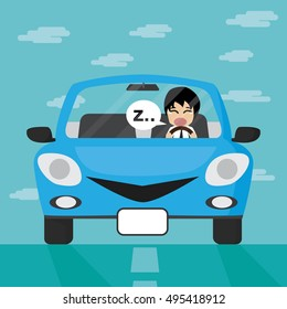 Businessman driving in blue car with sleepy enotion, Businessman Vector illustration.