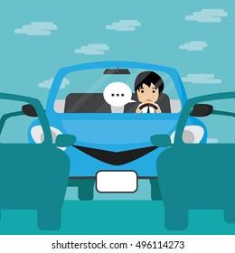 Businessman driving in blue car with traffic jam, Businessman Vector illustration.