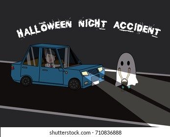 Businessman driving car is hitting Halloween children costume with shock. Flat vector illustration design.