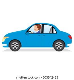 Businessman driving car. Man driving car. Vector illustration of a young man driving a car.