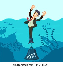 Businessman drowning chained with a weight Debt, having money problems, unable to pay bills, poor family debt management plan, increased monthly payments. Cartoon concept vector illustration