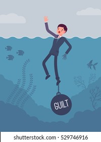 Businessman drowning chained with a weight Guilt, experiencing shame, done something wrong, caused someone harm. Cartoon flat-style concept illustration