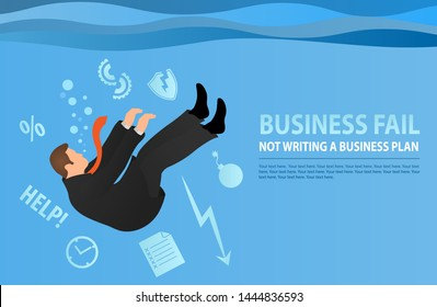 Businessman drowning in his problems. The metaphor of bad business. Flat style modern vector illustration. Concept business problem, stress, fail, deadline or overworked person