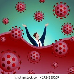 The businessman is drowning in the waves of crisis generated by the coronavirus. The concept of business failure in the Covid-19 pandemic. Flat vector illustration.