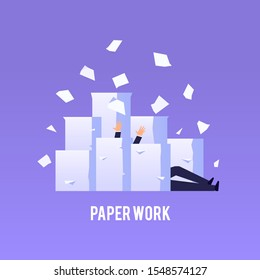 Businessman drowns under piles of papers. Hard paperwork concept in flat style. Vector illustration.