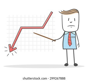 Businessman during a presentation show that charts the arrow is on the decline