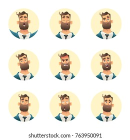 Businessman emotion collection. Man avatar set. Cartoon style illustration