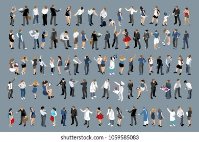 Businessman and employee large set of isometric people, isometric office set with businessman people and business ladies.