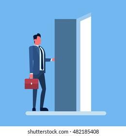 Businessman Enter Open Door Concept Flat Vector Illustration