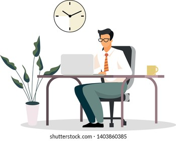 Businessman, entrepreneur, ceo, banker, financier, consultant working in office flat vector illustration. Manager, office worker, boss at workplace isolated cartoon character on white background