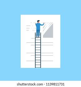 businessman erasing information clear data concept man on ladder delate info flat blue background vector illustration