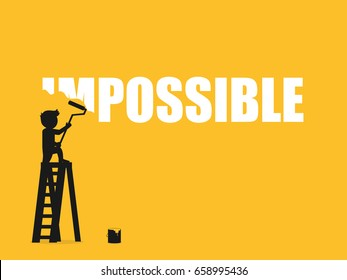 Businessman erasing the word impossible. Vector illustration.