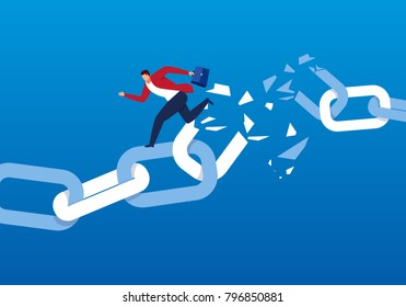 Businessman escaping the broken chain