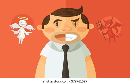 Businessman with evil and angel. Vector flat illustration