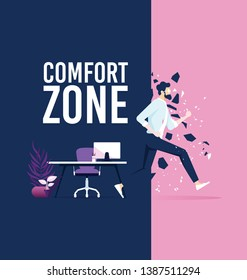 Businessman exit from comfort zone