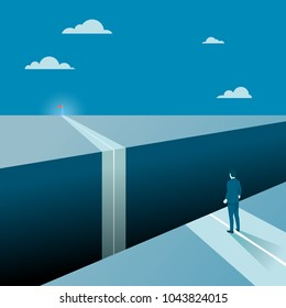 Businessman Facing a Big Gap of His Goal Target, Concept of Business Obstacles with a Big Abyss. Flat Vector.