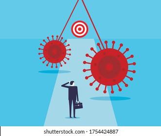 Businessman facing virus on the way to target. COVID-19 Coronavirus outbreak problem. Vector illustration in flat style