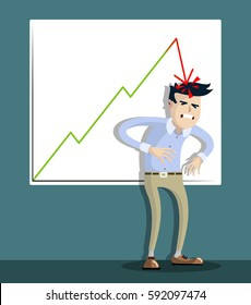 businessman failed, office worker, man was hit on the head a falling graphic, drop in graphics, the deterioration of business indicators, unsuccessful, character in flat design.