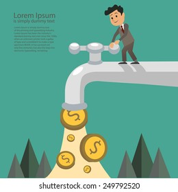 businessman fall out of the golden tap, Passive Income Concept