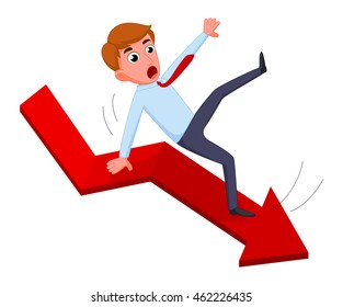 Businessman falling from the red chart arrow