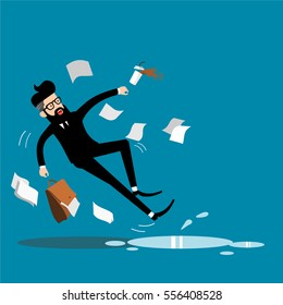 businessman falling vector.