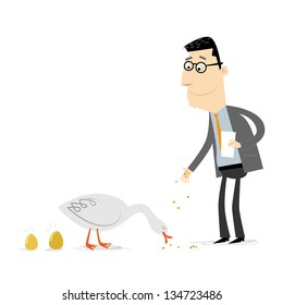 Businessman feeding a golden goose