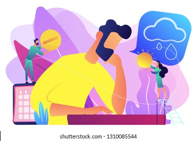 Businessman feeling bad with depressive symptoms, tiny people. Seasonal affective disorder, mood disorder, depression symptoms treatment concept. Bright vibrant violet vector isolated illustration