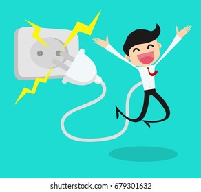 Businessman feeling good and recharging battery.worker refresh to active concept