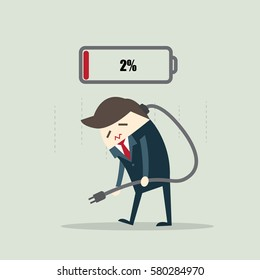 Businessman feeling tired and need to charging battery.