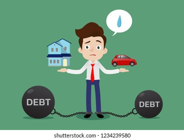 Businessman feels stressed about a big debt weight from bought home and car, Cartoon vector illustration