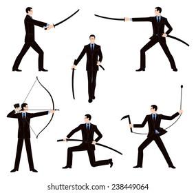 Businessman fighting in Japan martial arts