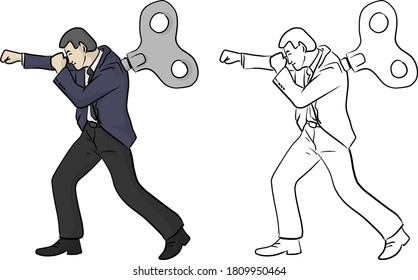 businessman fighting with windup on his back vector illustration sketch doodle hand drawn with black lines isolated on white background