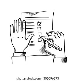 Businessman filling checklist or to do list with pen, sketch style