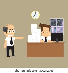 businessman to finish the work on time. vector