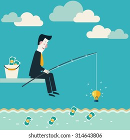 Businessman fishing dollar money. Innovation, strategy and investment concept. Idea attracting money and money attracting ideas. Make money from idea concept. Vector modern design