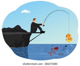 Businessman is fishing an interest rate symbol using rod and dollar