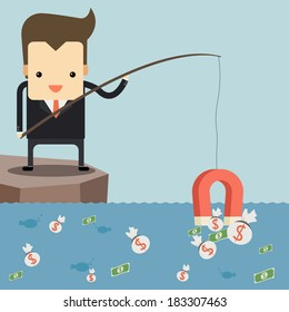 Businessman fishing money by red magnet