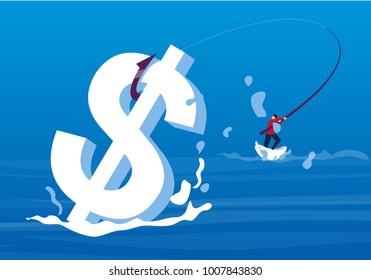 Businessman fishing in the sea