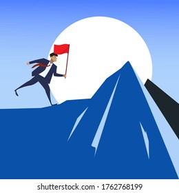 Businessman with flag running up mountain peak. Flat minimalist design in conquering or overcoming adversity concept. Championship, career leadership, and marketing success metaphor with copy space.