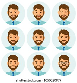 Businessman flat avatars set with different facial expressions. Bussines people's emotional faces icons collection. Vector illustration.