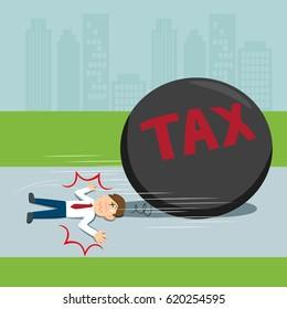Businessman flattened by big ball tax, vector illustration cartoon