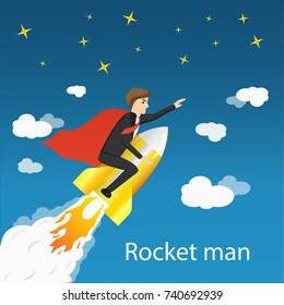 businessman flies up on a rocket. Rocket man. Vector illustration.